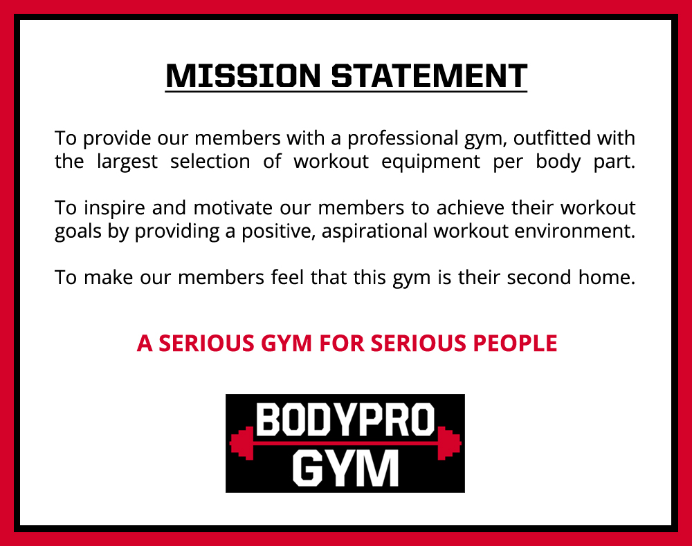 BODYPRO Gym Mission Statement
